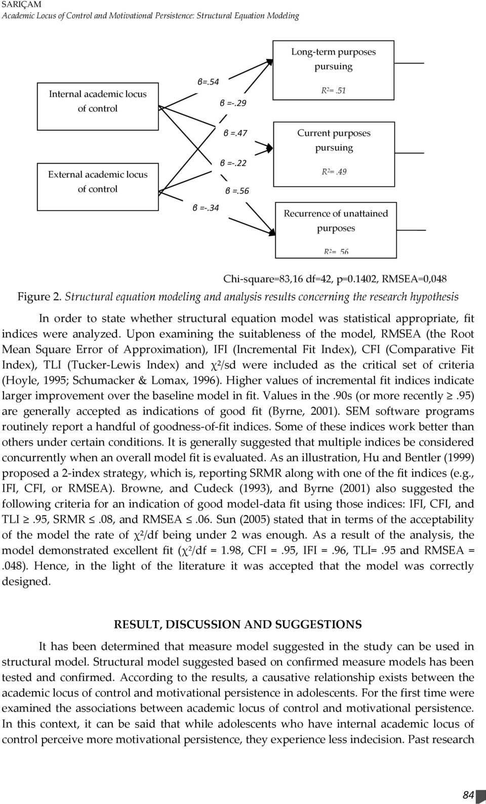 Structural equation modeling and analysis results concerning the research hypothesis In order to state whether structural equation model was statistical appropriate, fit indices were analyzed.