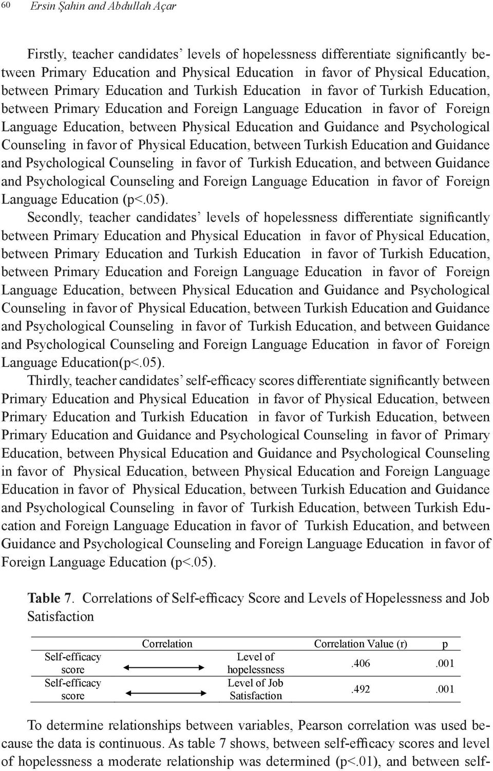 Education and Guidance and Psychological Counseling in favor of Physical Education, between Turkish Education and Guidance and Psychological Counseling in favor of Turkish Education, and between