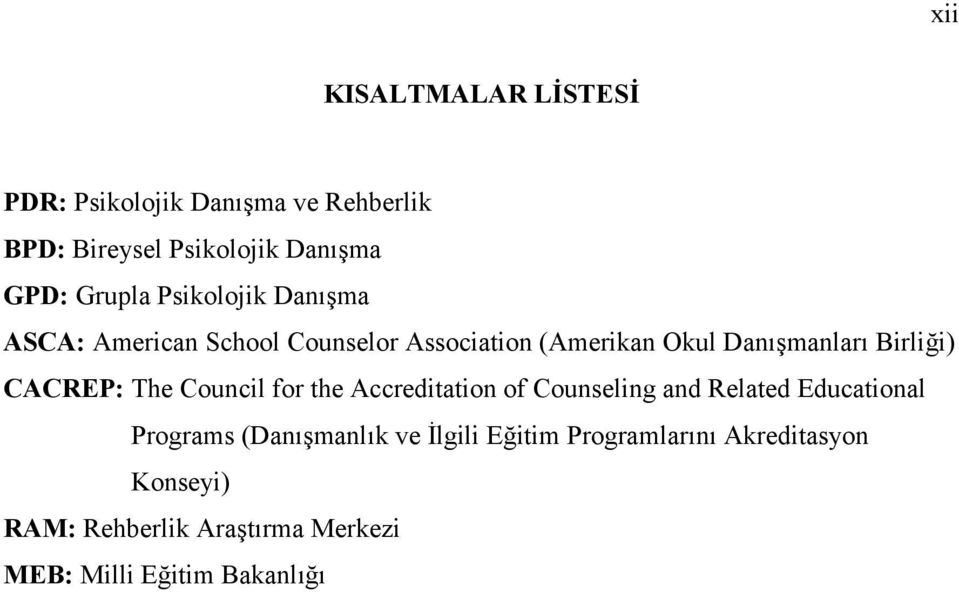 CACREP: The Council for the Accreditation of Counseling and Related Educational Programs (Danışmanlık ve