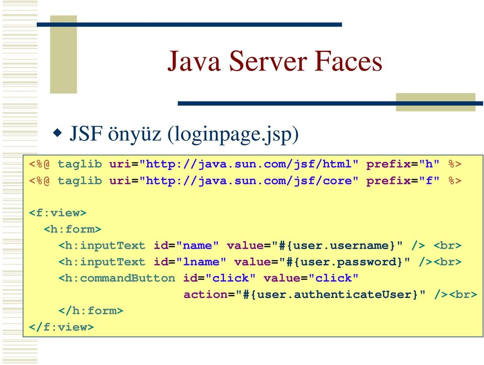 "com/jsf/core"" prefix=""f"" %> <f:view> <h:form> <h:inputtext id=""name"" value=""#{user."