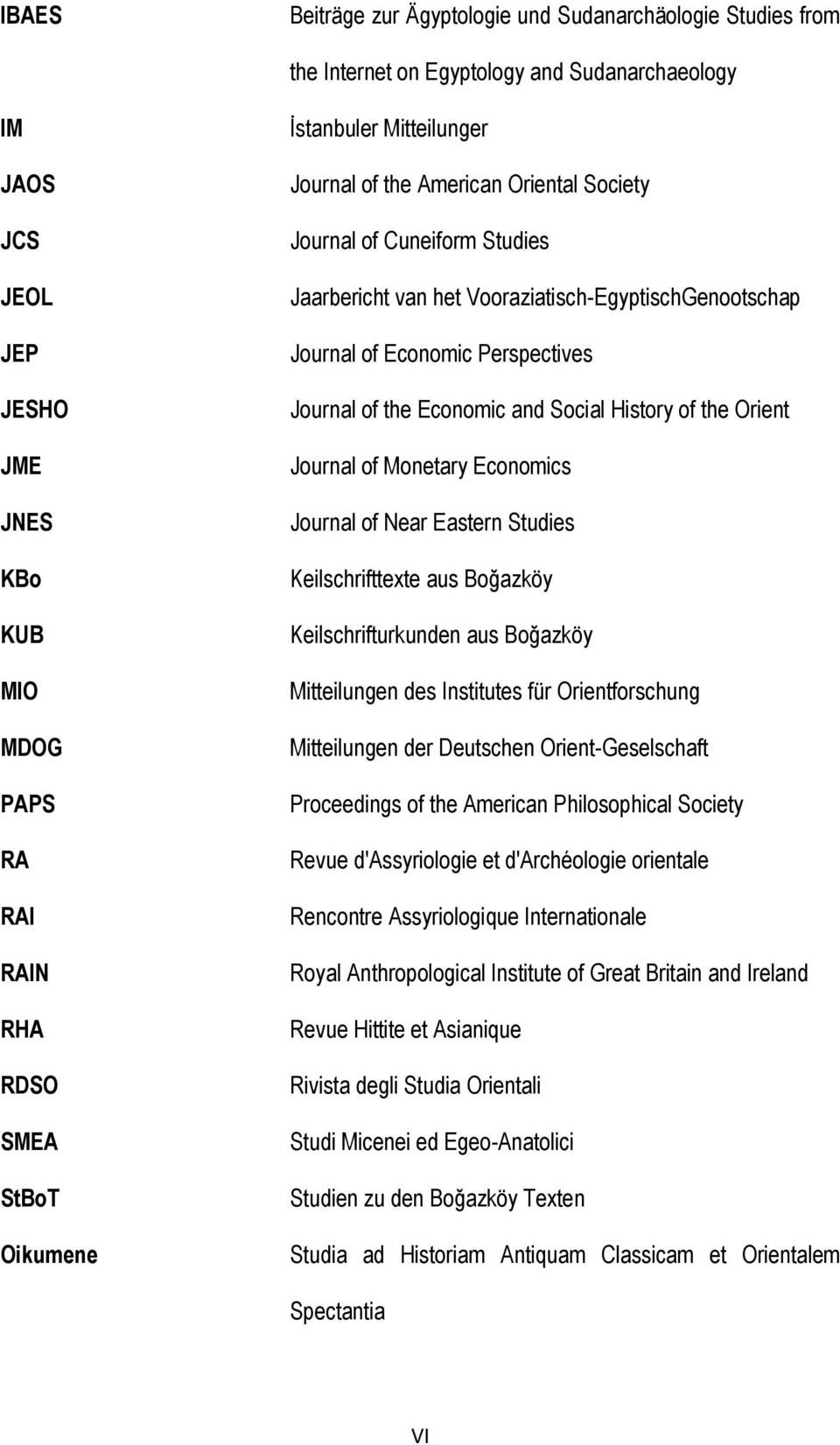 Journal of the Economic and Social History of the Orient Journal of Monetary Economics Journal of Near Eastern Studies Keilschrifttexte aus Boğazköy Keilschrifturkunden aus Boğazköy Mitteilungen des