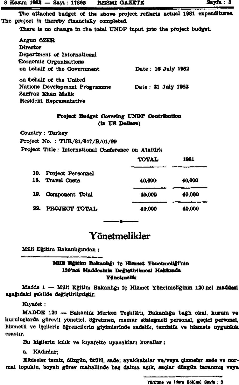 the United Nations Development Programme Date: 21 July 1982 Sarfraz Khan Malik Resident Representative Project Budget Covering UNDP Contribution (In US Dollars) Country: Turkey Project No.