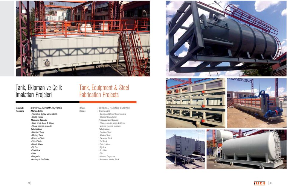 Box - Tool Box - Silo - Degazör - Amonyak Su Tankı 32 : BORDRILL, KARİZMA, OUTOTEC : Engineering - Basic and Detail Engineering - Statical Calculation Procurement/Supply - Plates,