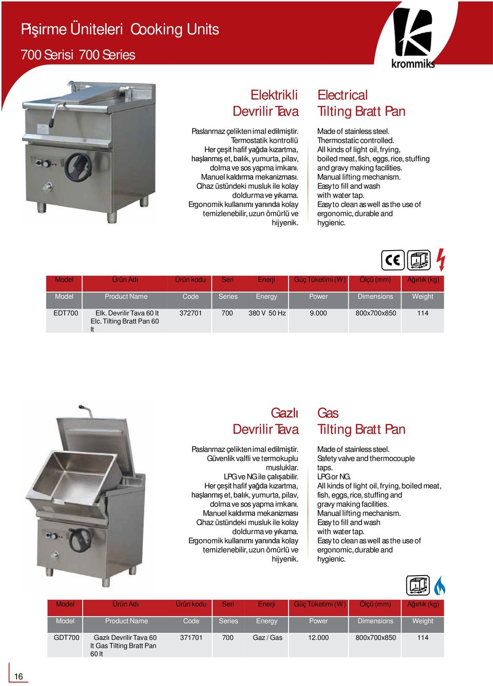 Electrical Tilting Bratt Pan Thermostatic controlled. All kinds of light oil, frying, boiled meat, fish, eggs,rice, stuffing and gravy makingfacilities. Manual liftingmechanism.