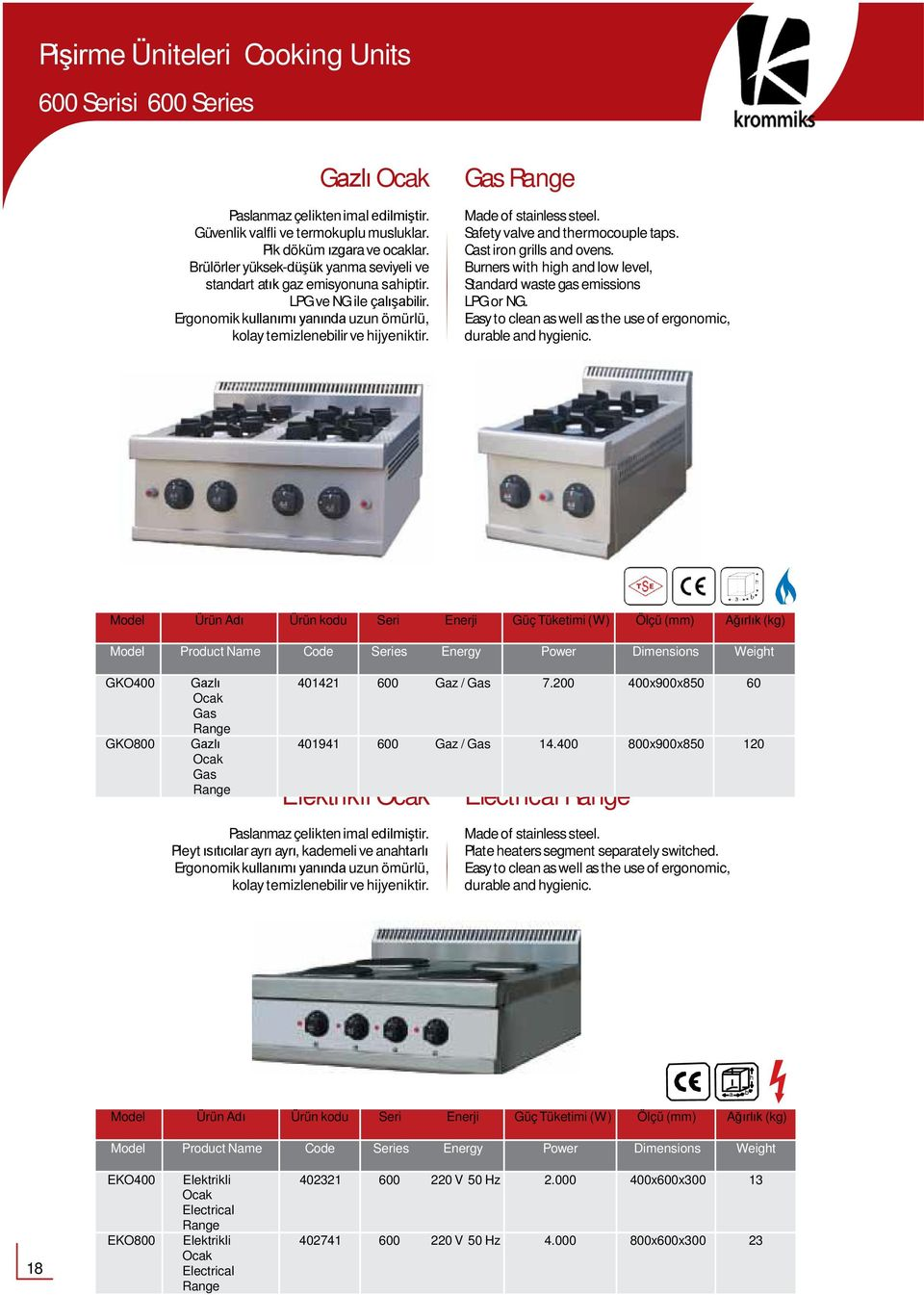 Gas Range Safety valve and thermocouple taps. Cast iron grills and ovens. Burners with high and low level, Standard waste gas emissions LPGor NG.