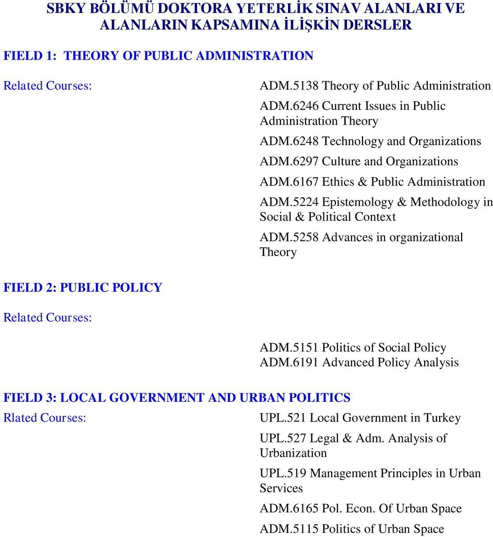 5224 Epistemology & Methodology in Social & Political Context ADM.5258 Advances in organizational Theory FIELD 2: PUBLIC POLICY ADM.5151 Politics of Social Policy ADM.