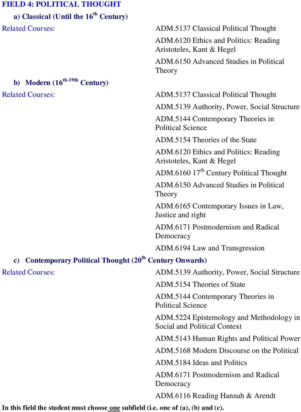 5144 Contemporary Theories in Political Science ADM.5154 Theories of the State c) Contemporary Political Thought (20 th Century Onwards) ADM.