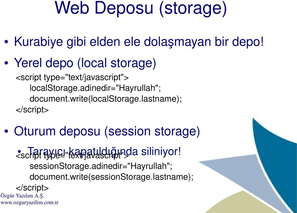 "adinedir=""hayrullah""; document.write(localstorage."