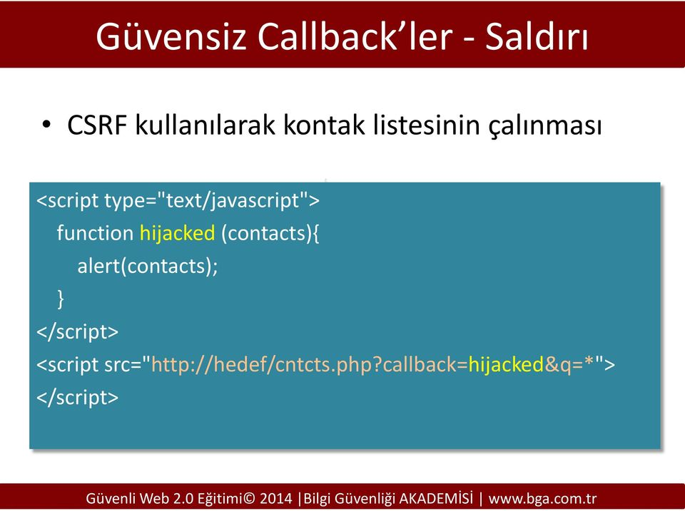 function hijacked (contacts){ alert(contacts); } </script>
