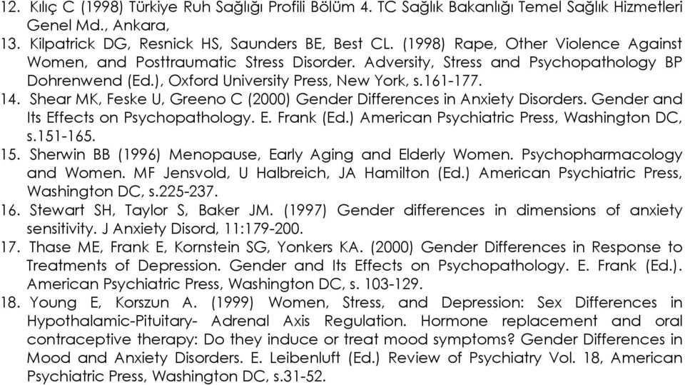 Shear MK, Feske U, Greeno C (2000) Gender Differences in Anxiety Disorders. Gender and Its Effects on Psychopathology. E. Frank (Ed.) American Psychiatric Press, Washington DC, s.151-165. 15.