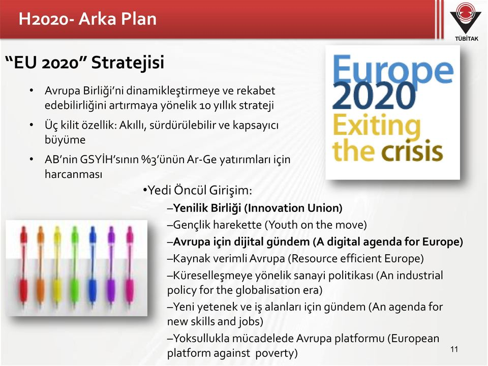 Avrupa için dijital gündem (A digital agenda for Europe) Kaynak verimli Avrupa (Resource efficient Europe) Küreselleşmeye yönelik sanayi politikası (An industrial policy for