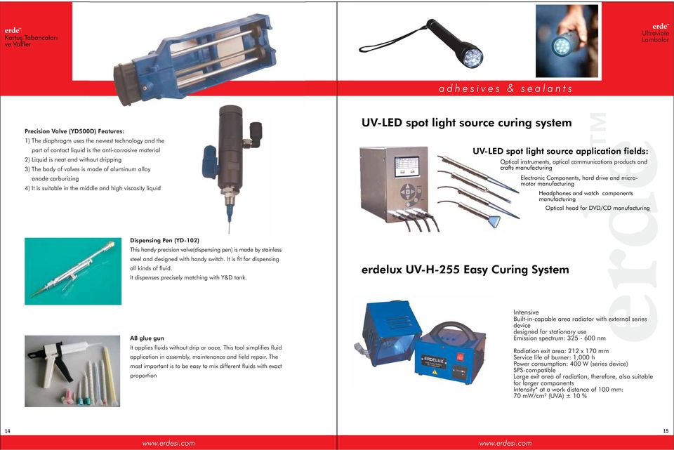 UV-LED spot light source application fields: Optical instruments, optical communications products and crafts manufacturing Electronic Components, hard drive and micromotor manufacturing Headphones