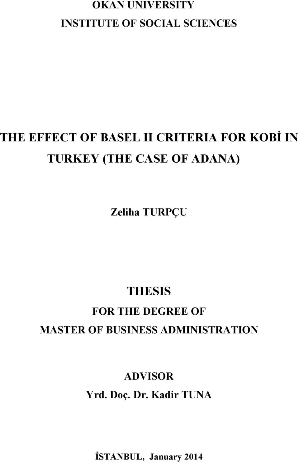 Zeliha TURPÇU THESIS FOR THE DEGREE OF MASTER OF BUSINESS