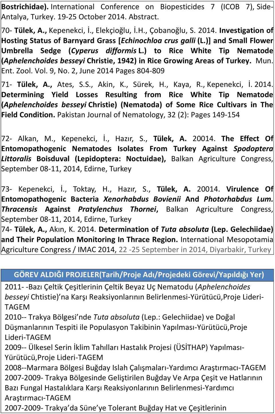 2, June 2014 Pages 804-809 71- Tülek, A., Ates, S.S., Akin, K., Sürek, H., Kaya, R., Kepenekci, İ. 2014. Determining Yield Losses Resulting from Rice White Tip Nematode (Aphelenchoides besseyi Christie) (Nematoda) of Some Rice Cultivars in The Field Condition.