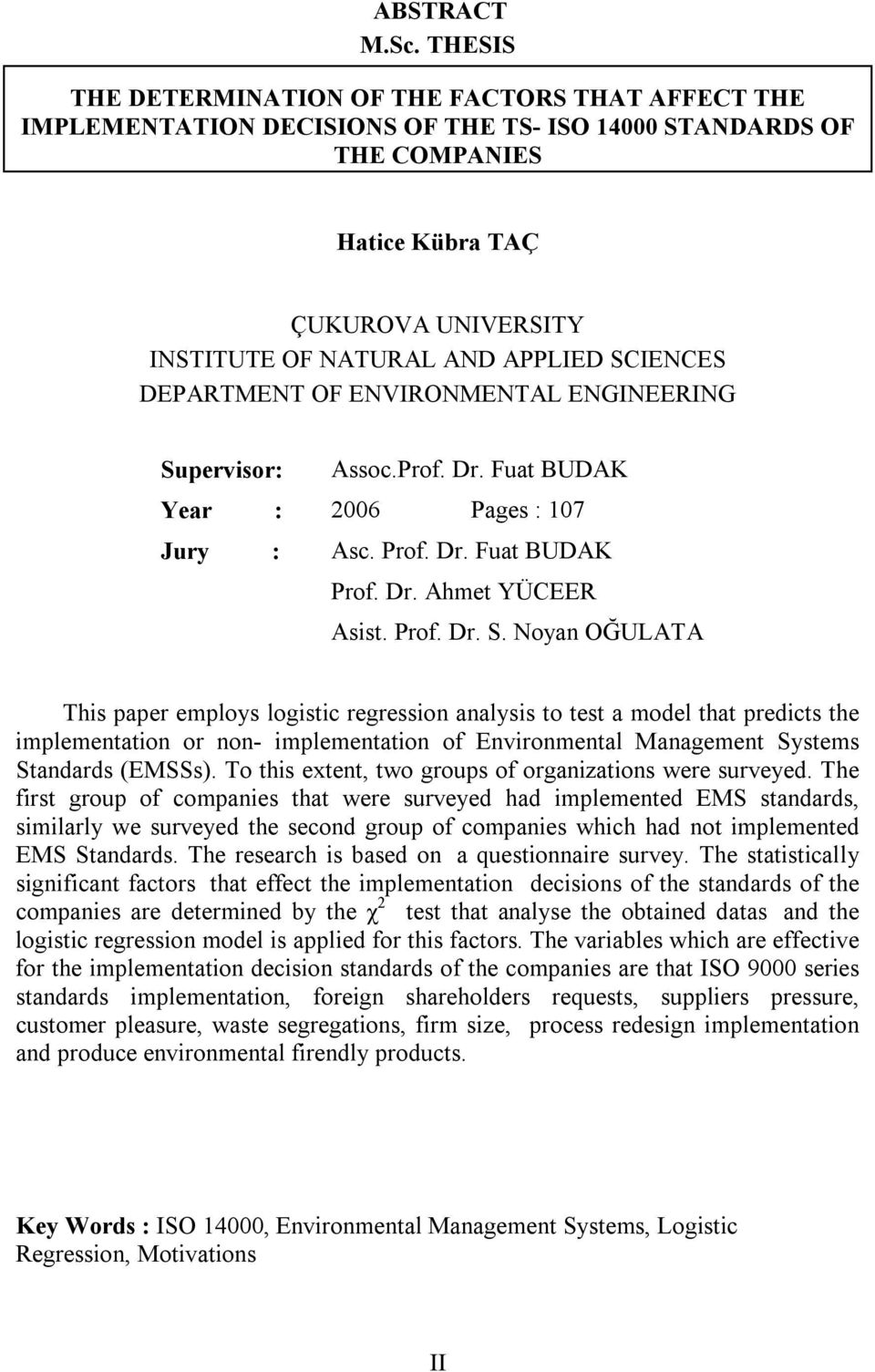 SCIENCES DEPARTMENT OF ENVIRONMENTAL ENGINEERING Su