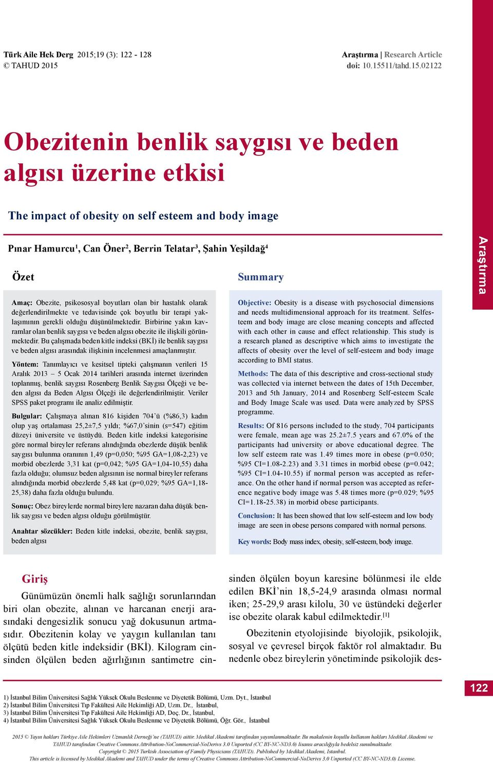 Araştırma Research Article doi: 0.55