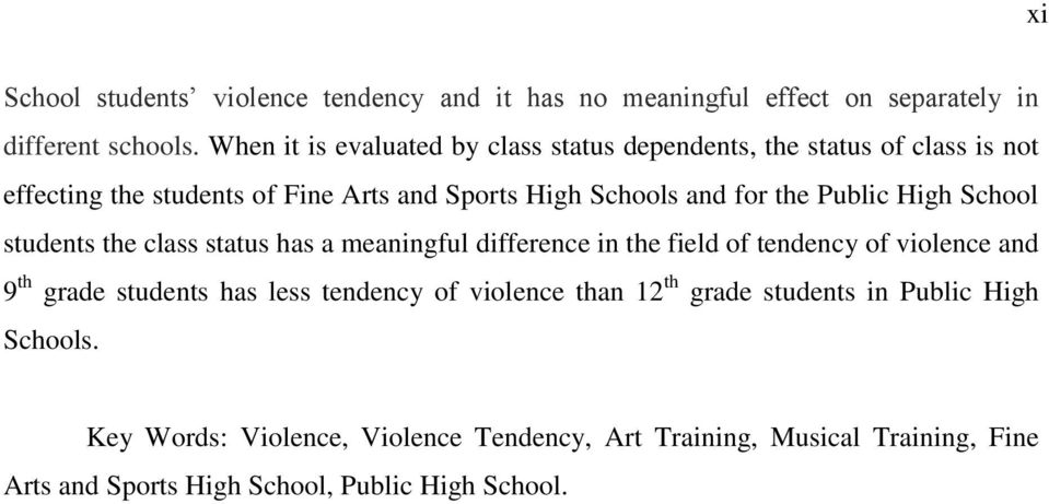 Public High School students the class status has a meaningful difference in the field of tendency of violence and 9 th grade students has less