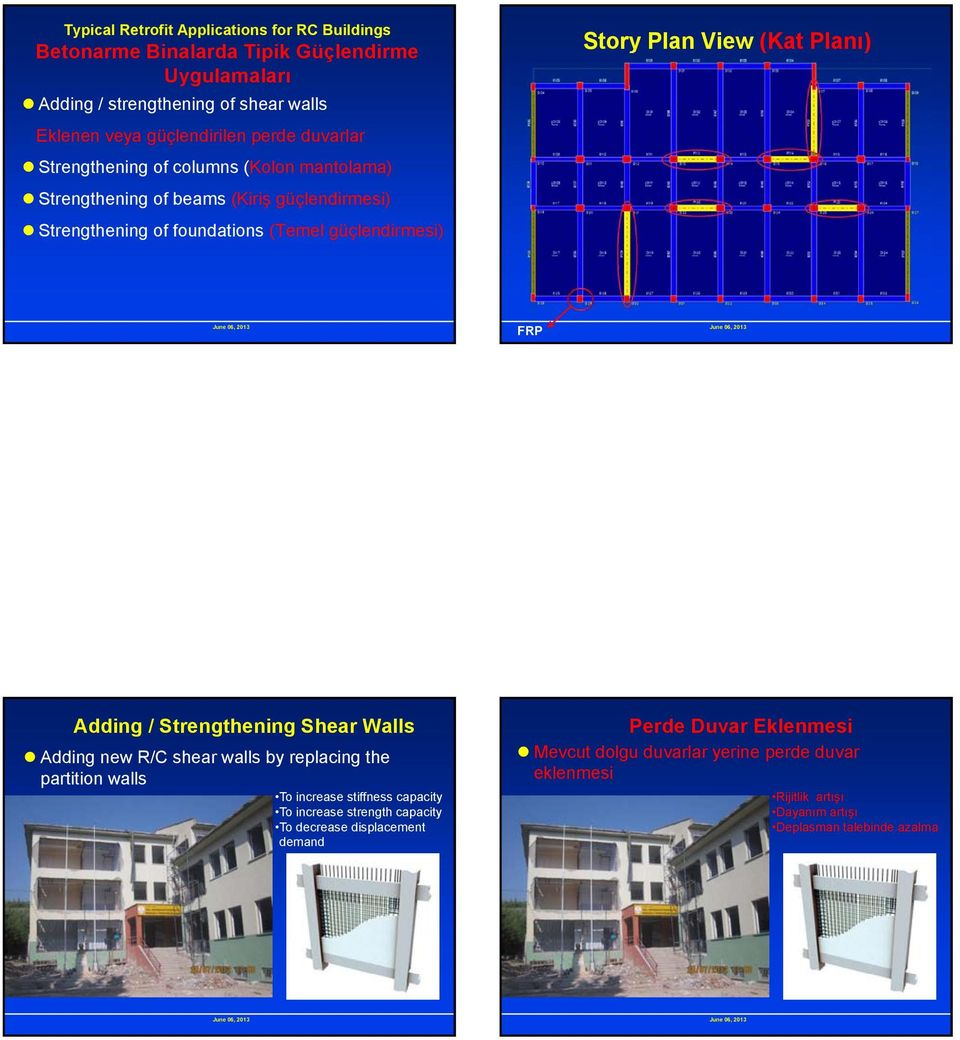 View (Kat Planı) FRP Adding / Strengthening Shear Walls Adding new R/C shear walls by replacing the partition walls To increase stiffness capacity To increase