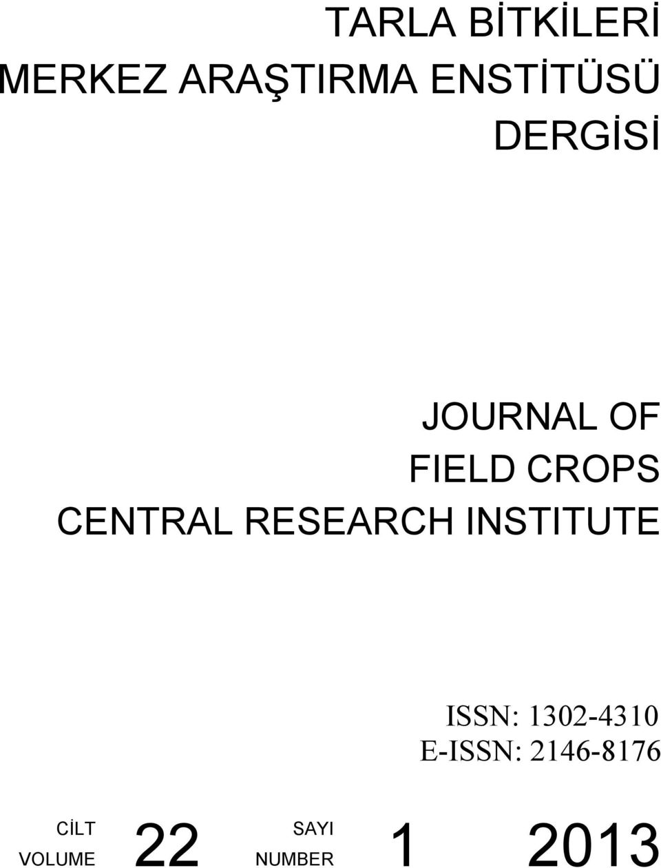 CENTRAL RESEARCH INSTITUTE ISSN: