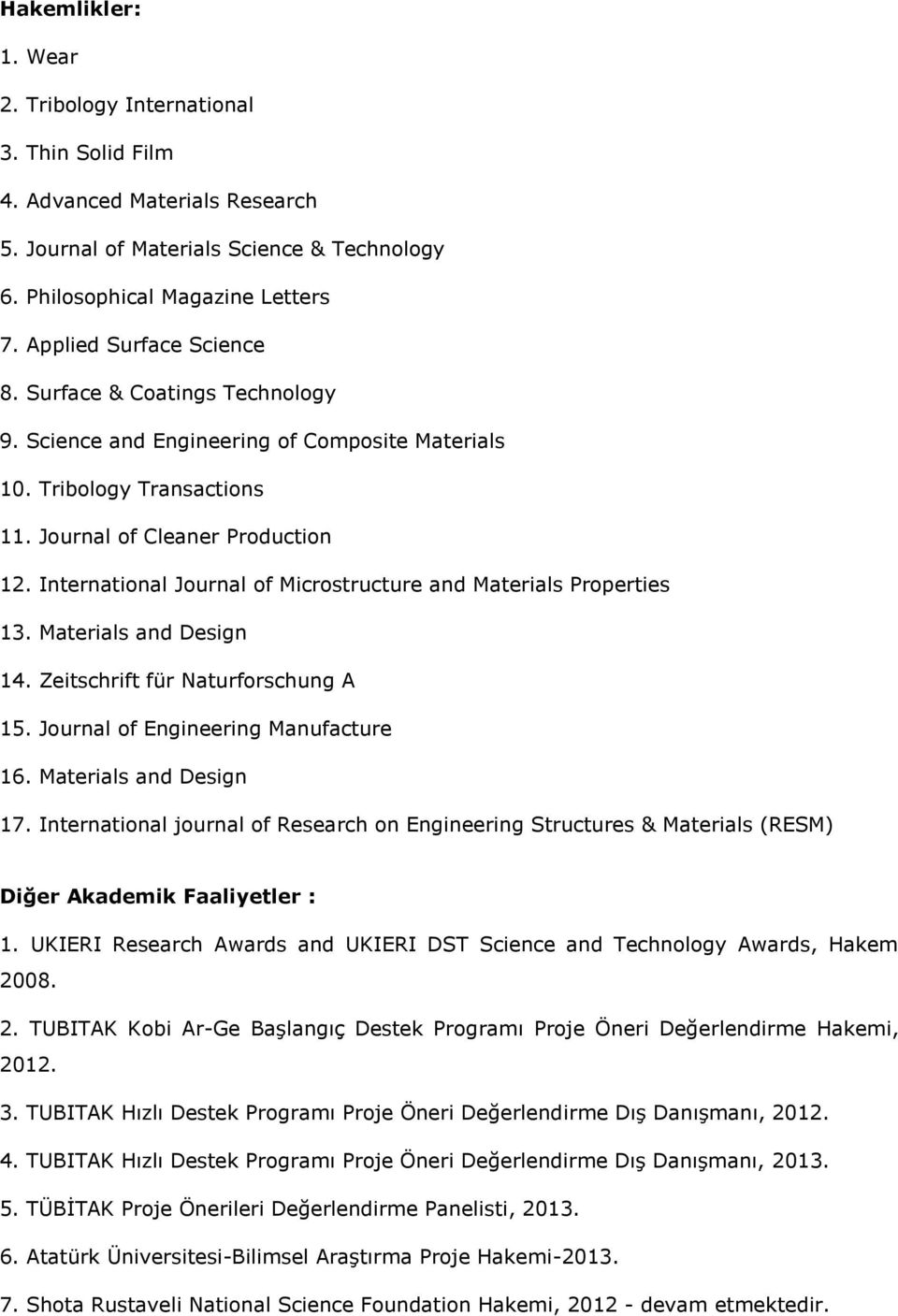 International Journal of Microstructure and Materials Properties 13. Materials and Design 14. Zeitschrift für Naturforschung A 15. Journal of Engineering Manufacture 16. Materials and Design 17.