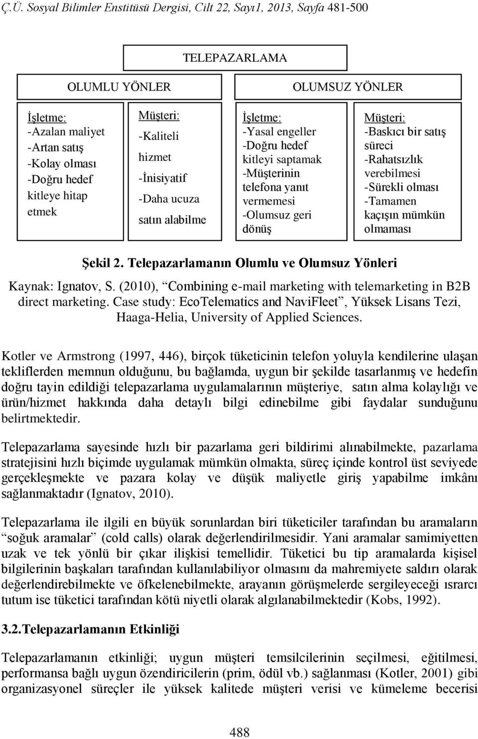kaçışın mümkün olmaması ġekil 2. Telepazarlamanın Olumlu ve Olumsuz Yönleri Kaynak: Ignatov, S. (2010), Combining e-mail marketing with telemarketing in B2B direct marketing.