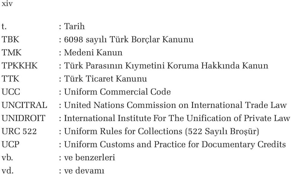 Kanun TTK : Türk Ticaret Kanunu UCC : Uniform Commercial Code UNCITRAL : United Nations Commission on International