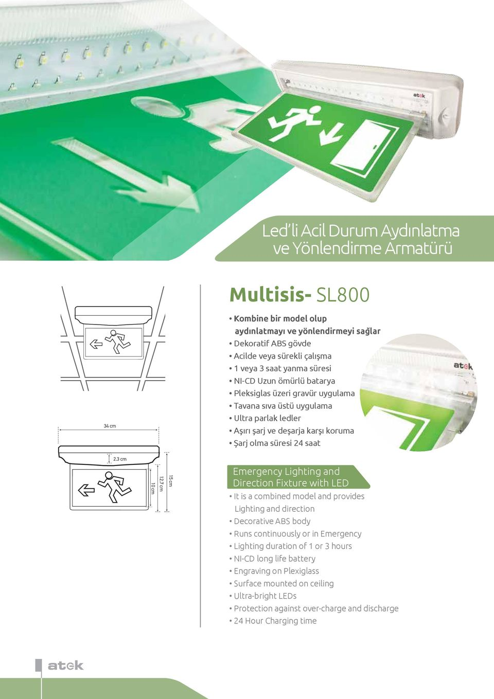gravür uygulama Tavana sıva üstü uygulama Emergency Lighting and Direction Fixture with LED