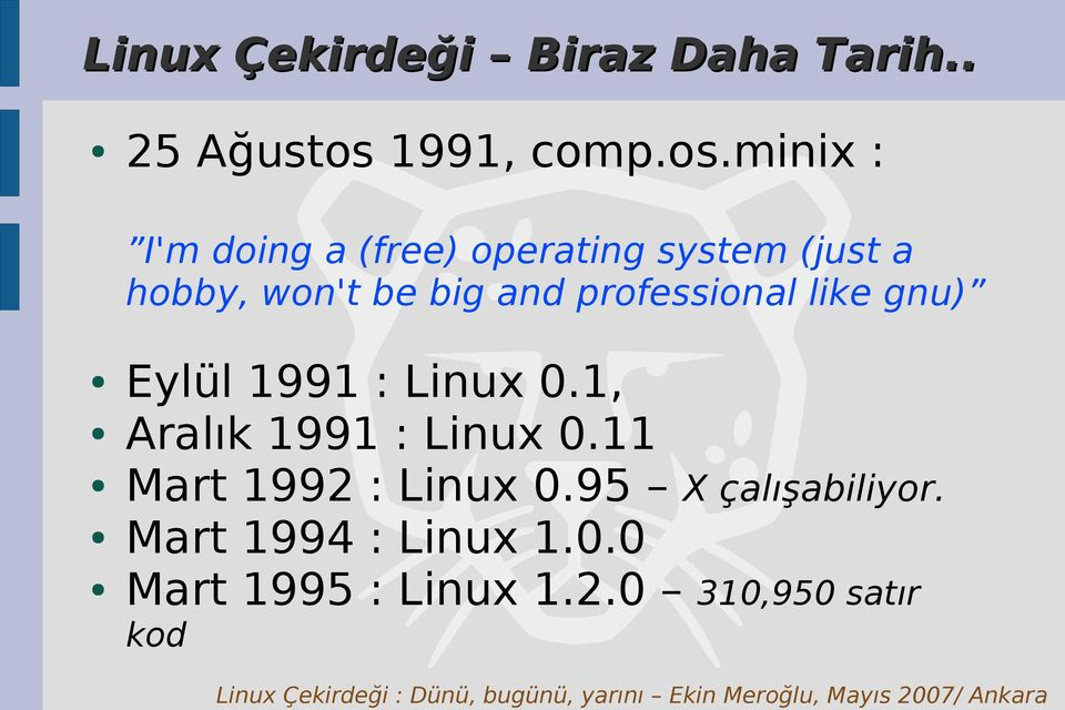 minix : I'm doing a (free) operating system (just a hobby, won't be big and