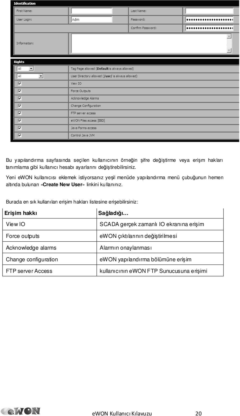 Burada en sık kullanılan erişim hakları listesine erişebilirsiniz: Erişim hakkı View IO Force outputs Acknowledge alarms Change configuration FTP server Access