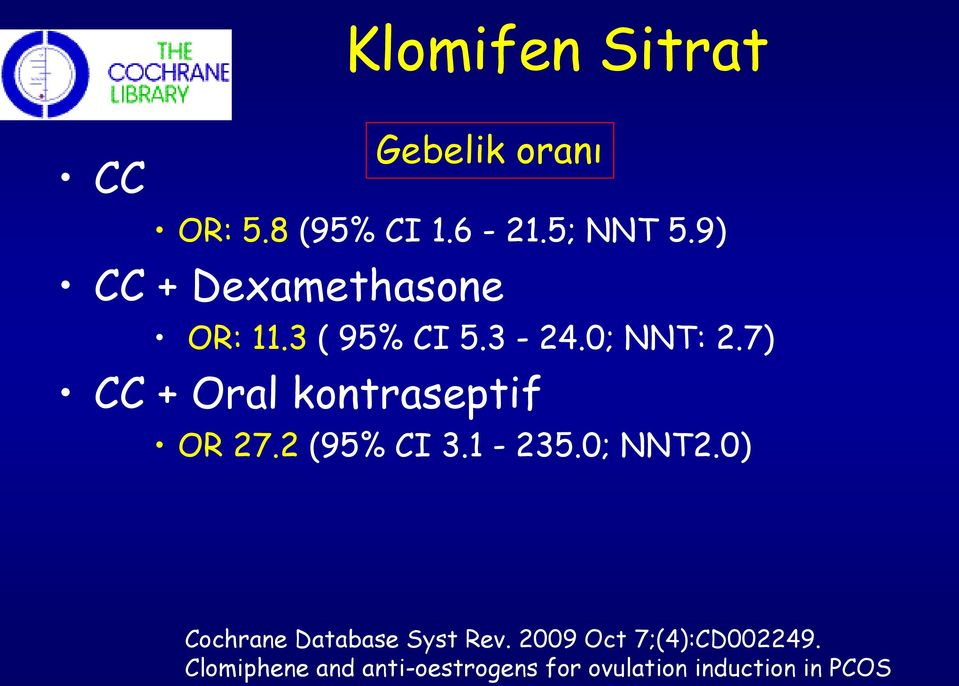 7) CC + Oral kontraseptif OR 27.2 (95% CI 3.1-235.0; NNT2.
