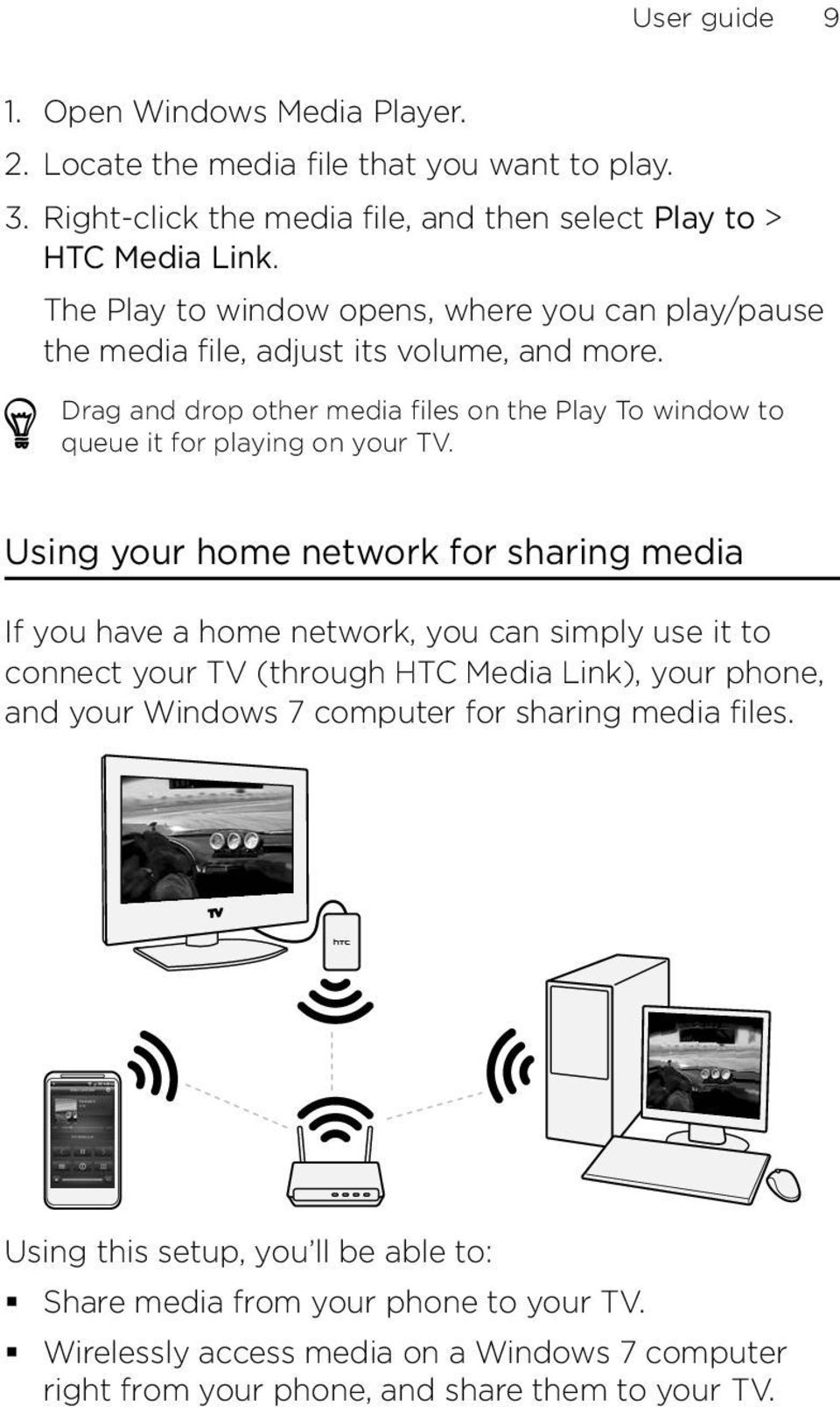Drag and drop other media files on the Play To window to queue it for playing on your TV.