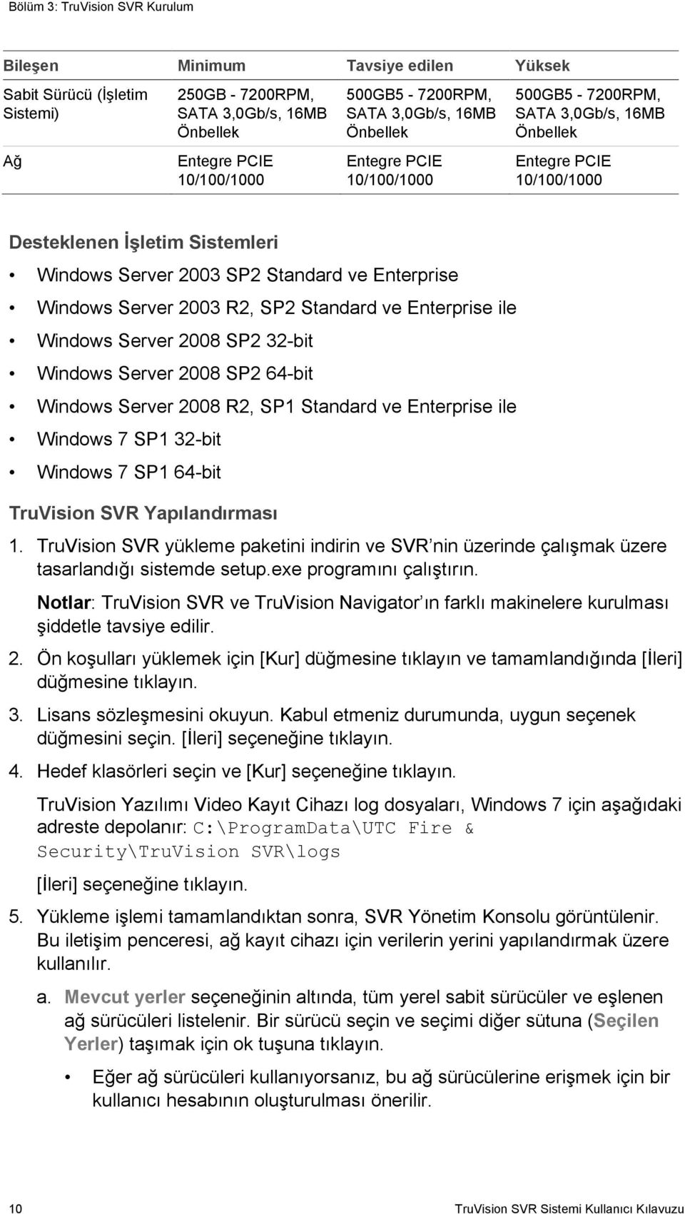 Windows Server 2003 R2, SP2 Standard ve Enterprise ile Windows Server 2008 SP2 32-bit Windows Server 2008 SP2 64-bit Windows Server 2008 R2, SP1 Standard ve Enterprise ile Windows 7 SP1 32-bit