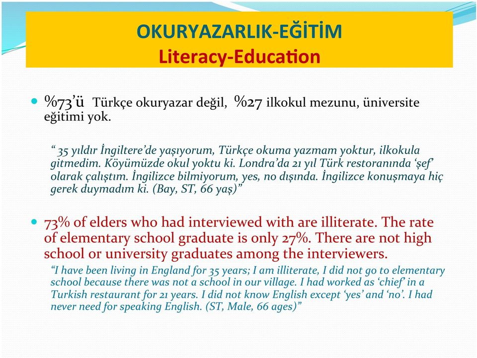 (Bay, ST, 66 yaş) 73% of elders who had interviewed with are illiterate. The rate of elementary school graduate is only 27%. There are not high school or university graduates among the interviewers.