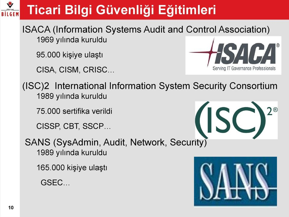 000 kişiye ulaştı CISA, CISM, CRISC (ISC)2 International Information System Security