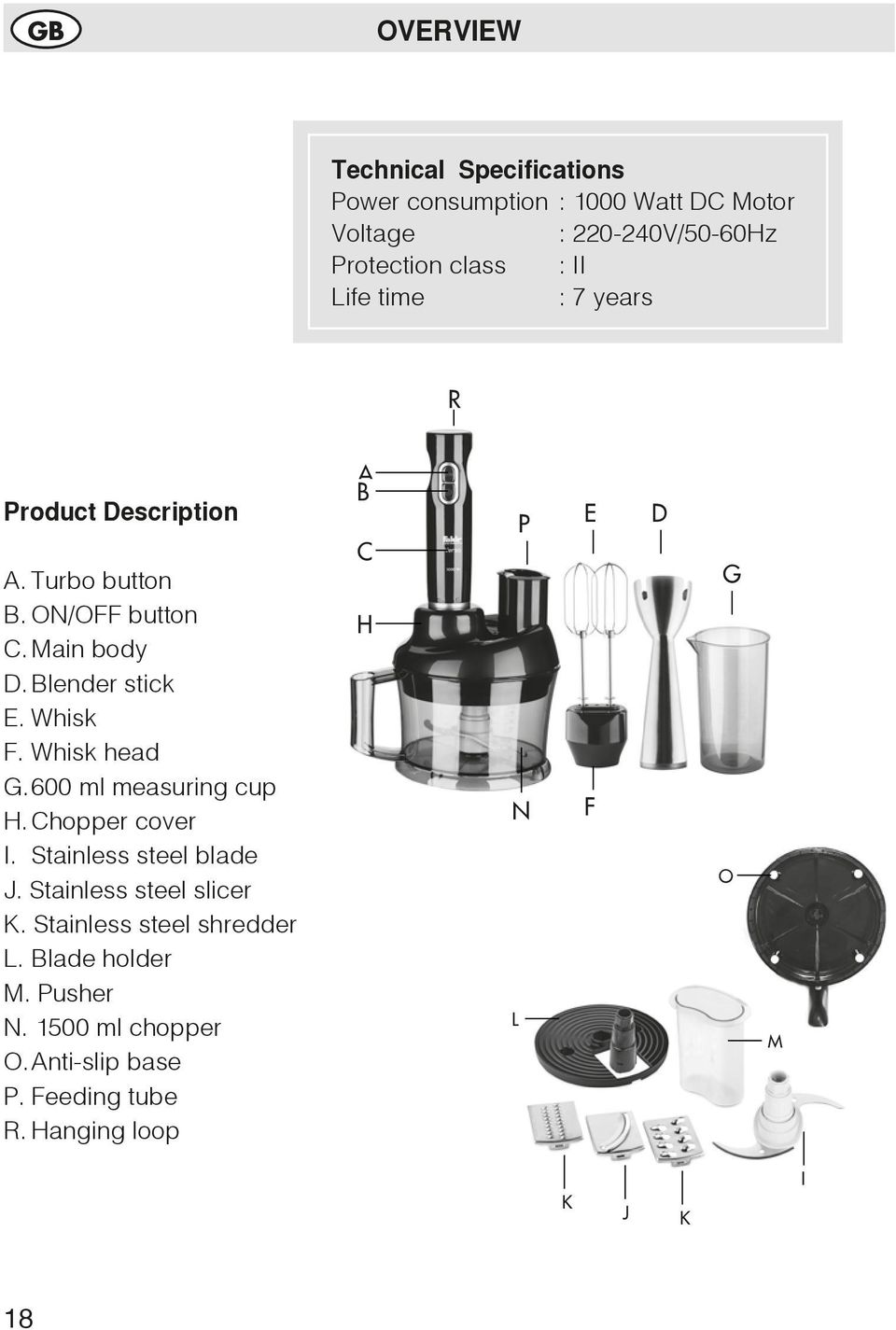 Whisk head G. 600 ml measuring cup H. Chopper cover I. Stainless steel blade J. Stainless steel slicer K.