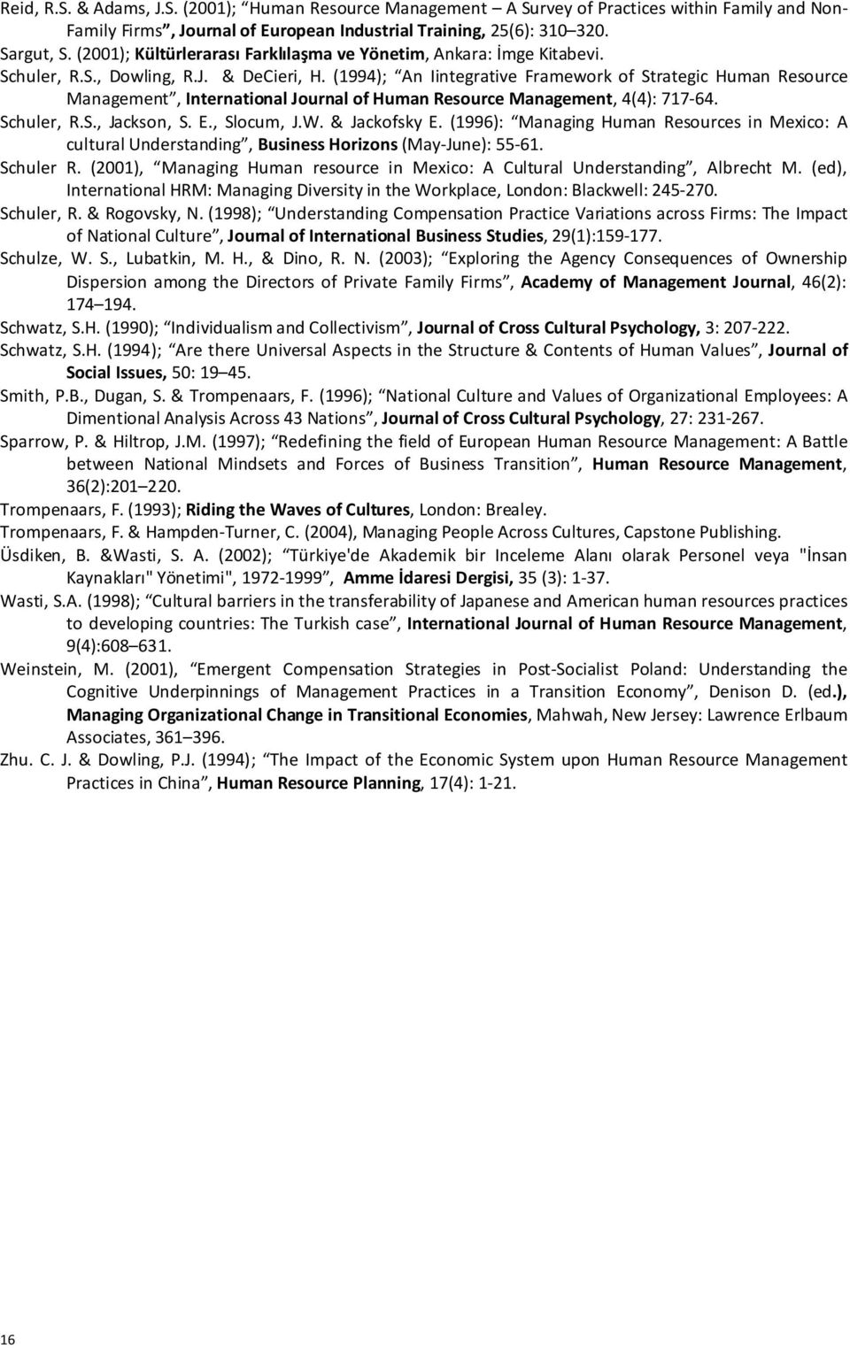 (1994); An Iintegrative Framework of Strategic Human Resource Management, International Journal of Human Resource Management, 4(4): 717-64. Schuler, R.S., Jackson, S. E., Slocum, J.W. & Jackofsky E.