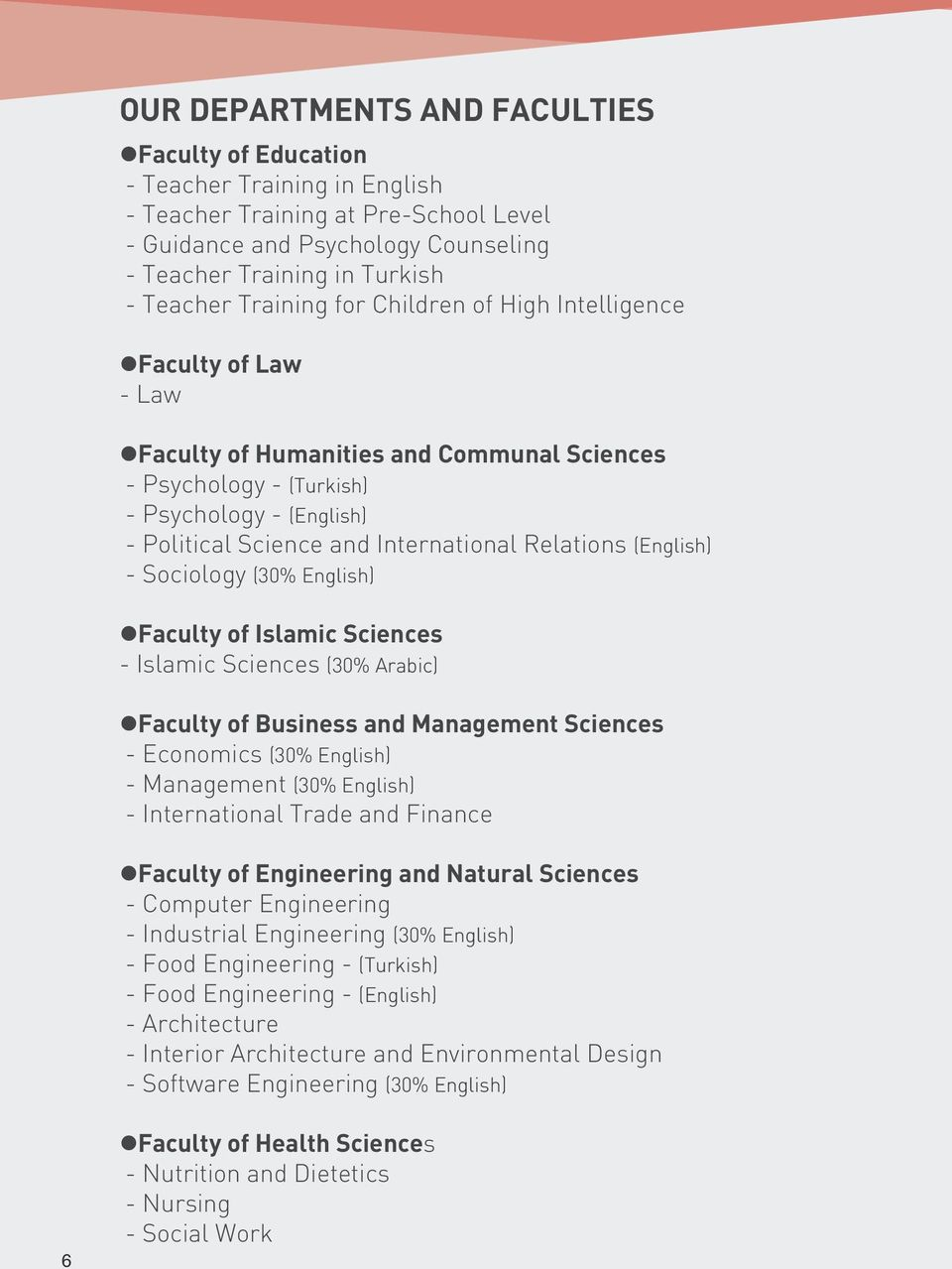 Relations (English) - Sociology (30% English) Faculty of Islamic Sciences - Islamic Sciences (30% Arabic) Faculty of Business and Management Sciences - Economics (30% English) - Management (30%