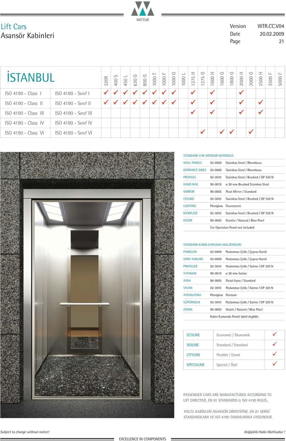 ENTRANCE SIDES 02-0009 Stainless Steel / Rhombous FLOOR 90-0003 Granite / Natural / Blue Pearl PANELLER 02-0009