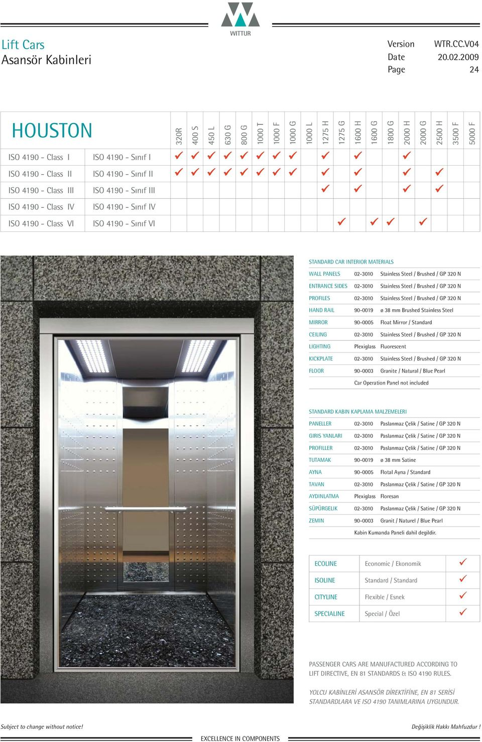 PANELS 02-3010 Stainless Steel / Brushed / GP 320 N FLOOR 90-0003 Granite / Natural / Blue
