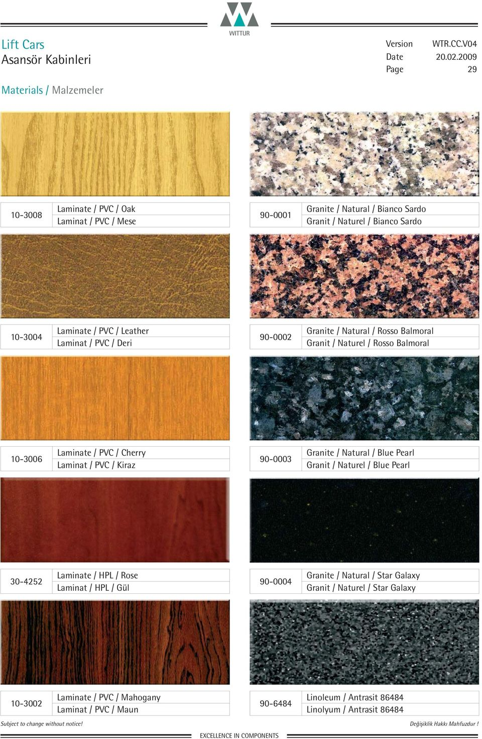 Laminat / PVC / Kiraz 90-0003 Granite / Natural / Blue Pearl Granit / Naturel / Blue Pearl 30-4252 Laminate / HPL / Rose Laminat / HPL / Gül 90-0004 Granite /