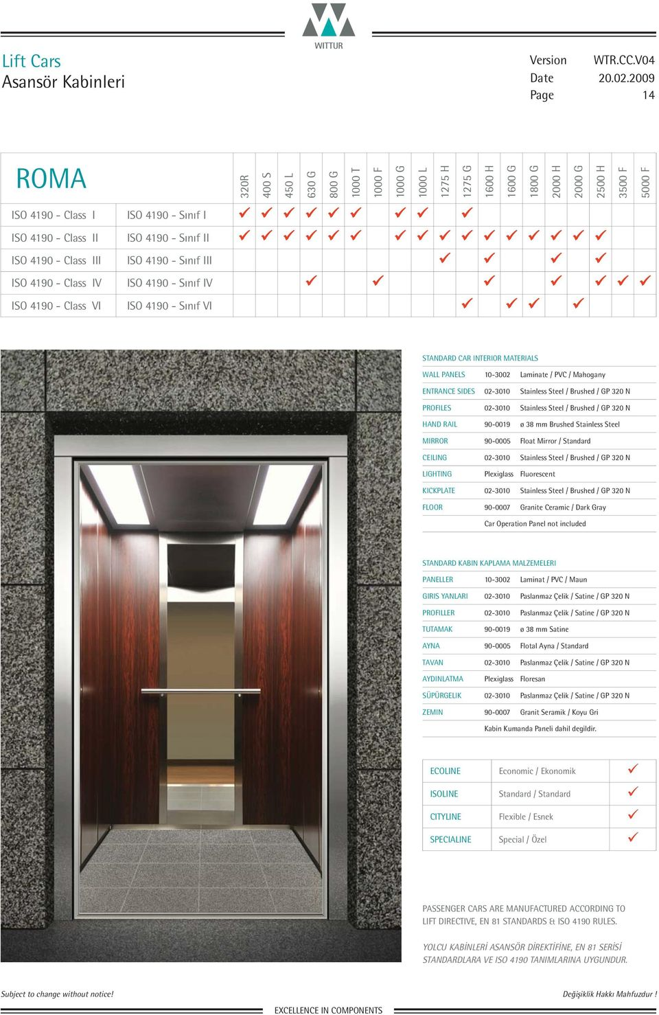 Sınıf VI WALL PANELS 10-3002 Laminate / PVC / Mahogany FLOOR 90-0007 Granite