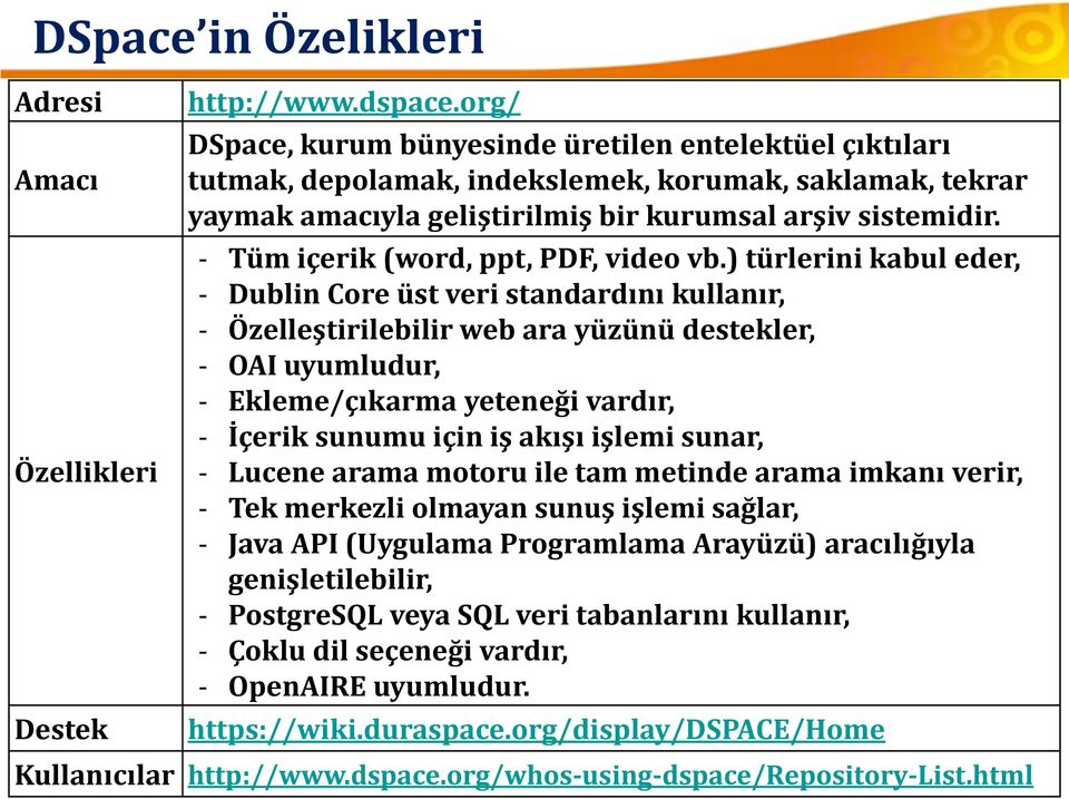 - Tüm içerik (word, ppt, PDF, video vb.