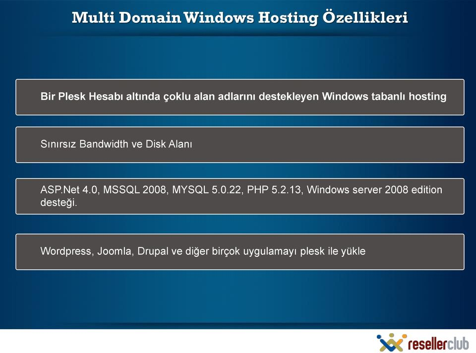 ASP.Net 4.0, MSSQL 2008, MYSQL 5.0.22, PHP 5.2.13, Windows server 2008 edition desteği.