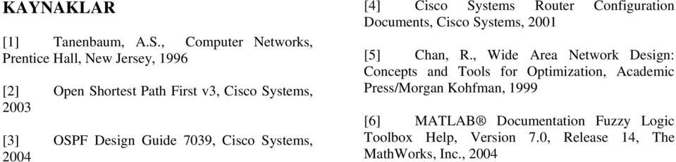 Documents, Cisco Systems, 2001 [5] Chan, R, Wide Area Network Design: Concepts and Tools for Optimization, Academic