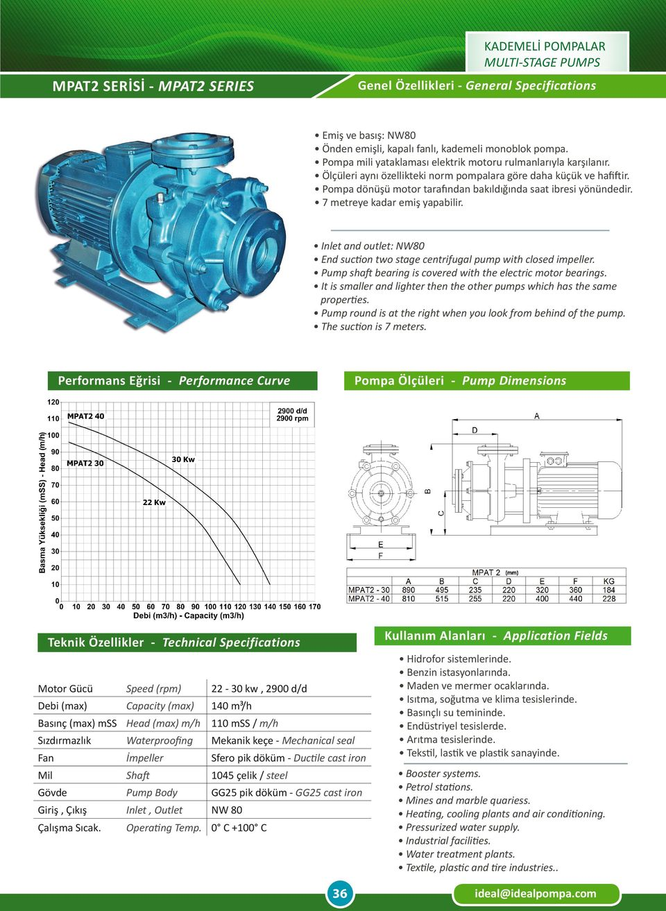 Inlet and outlet: NW80 End suction two stage centrifugal pump with closed impeller. Pump shaft bearing is covered with the electric motor bearings.