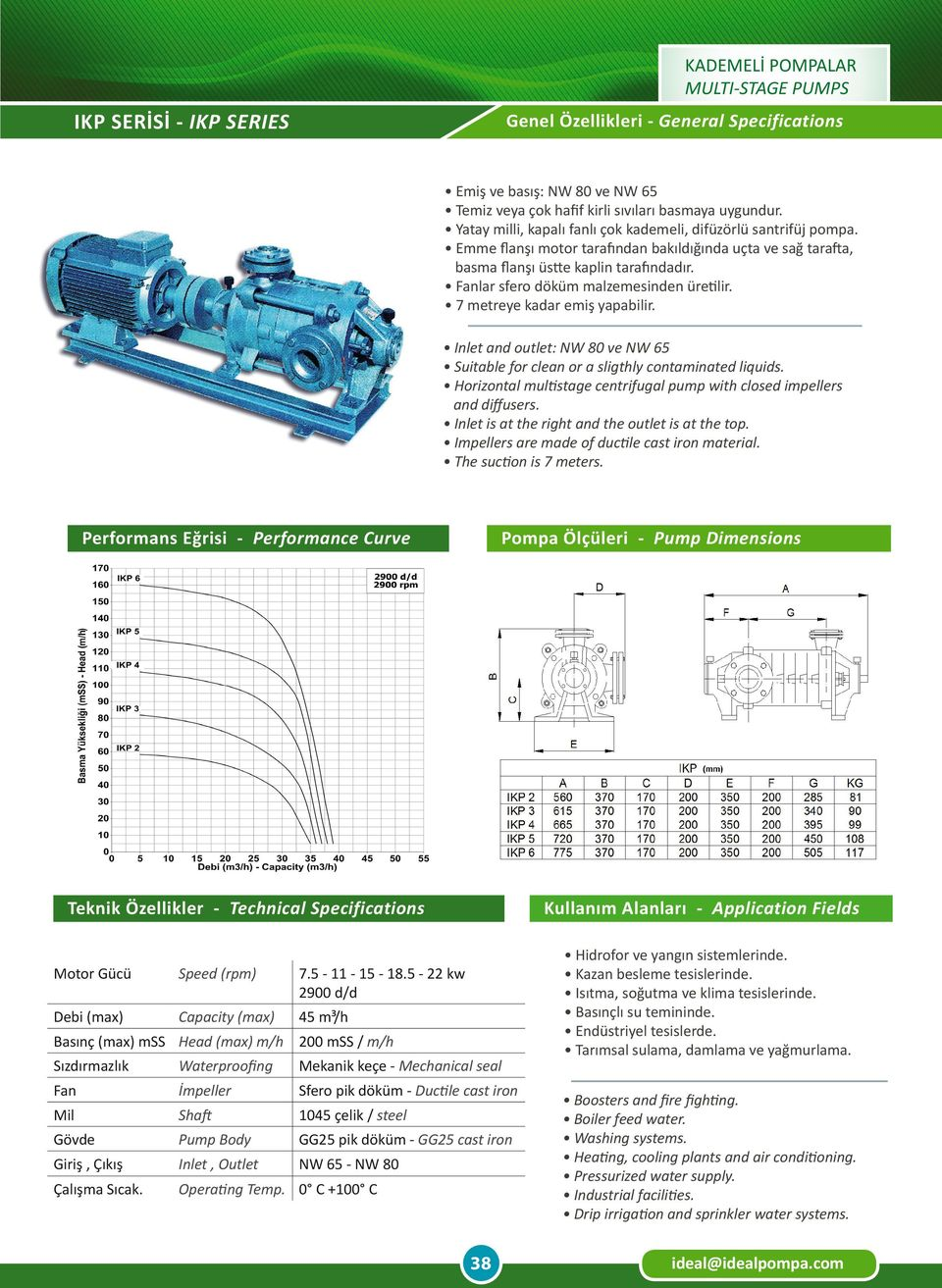 Inlet and outlet: NW 80 ve NW 65 Suitable for clean or a sligthly contaminated liquids. Horizontal multistage centrifugal pump with closed impellers and diffusers.