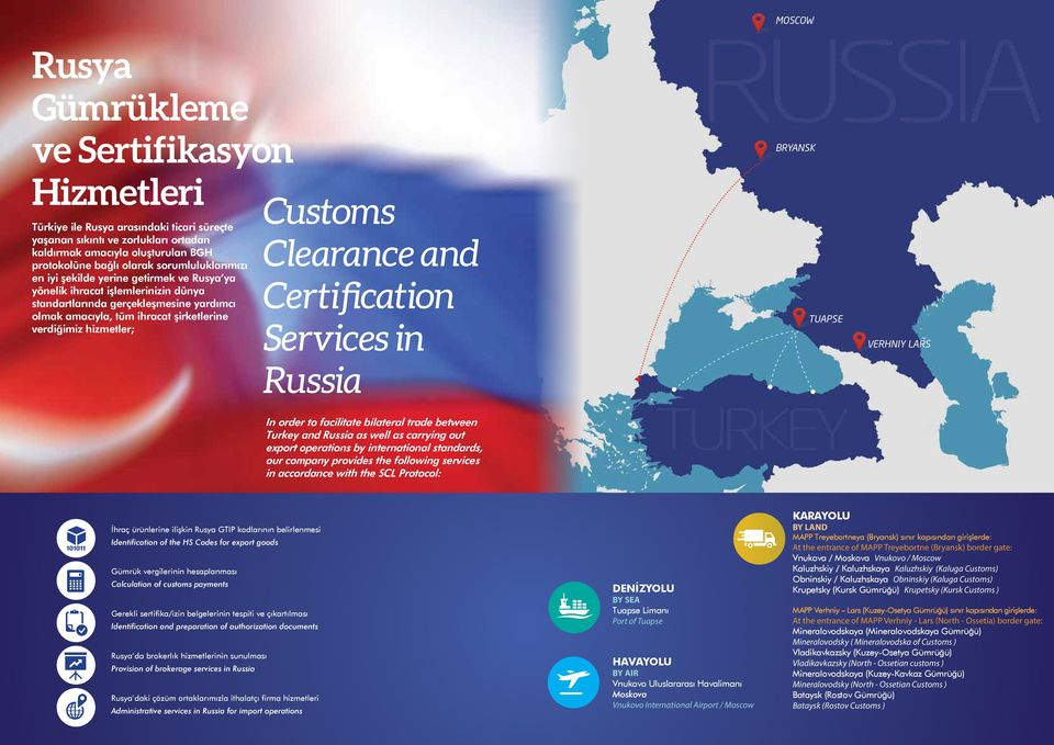verdiğimiz hizmetler; Clearance and Certification Services in TUAPSE VERHNIY LARS Russia In order to facilitate bilateral trade between Turkey and Russia as well as carrying out export operations by