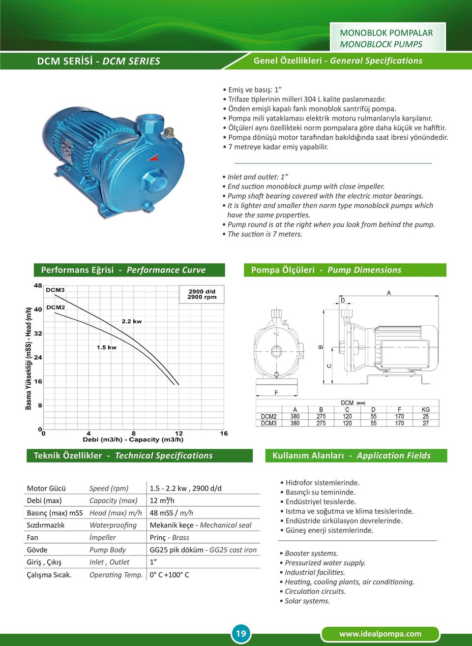 It is lighter and smaller then norm type monoblock pumps which have the same properties. Pump round is at the right when you look from behind the pump. Motor Gücü Speed (rpm) 1.5-2.