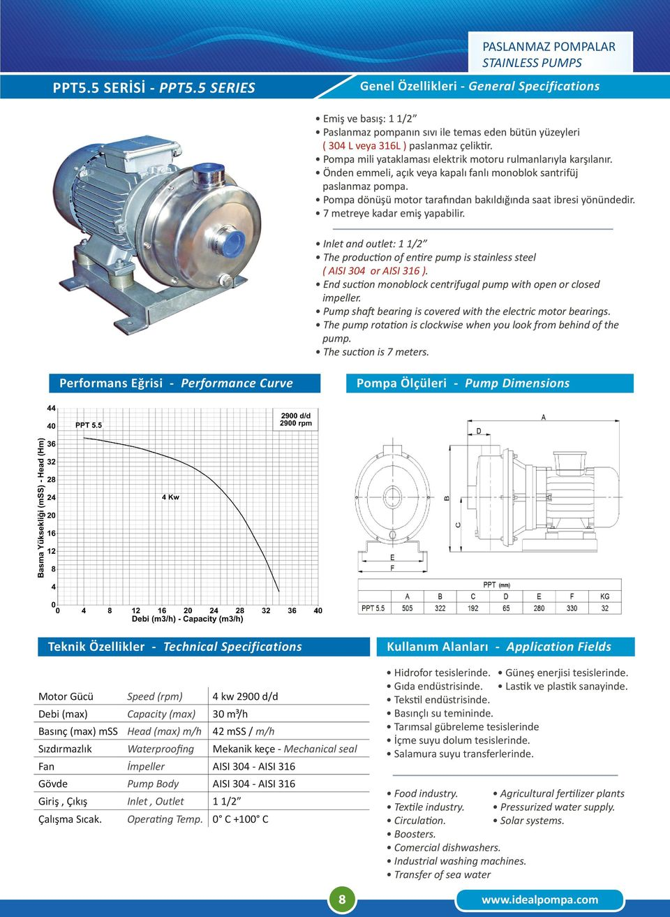 End suction monoblock centrifugal pump with open or closed impeller. Pump shaft bearing is covered with the electric motor bearings.