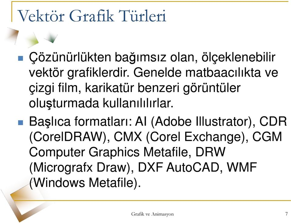 Başlıca formatları: AI (Adobe Illustrator), CDR (CorelDRAW), CMX (Corel Exchange), CGM